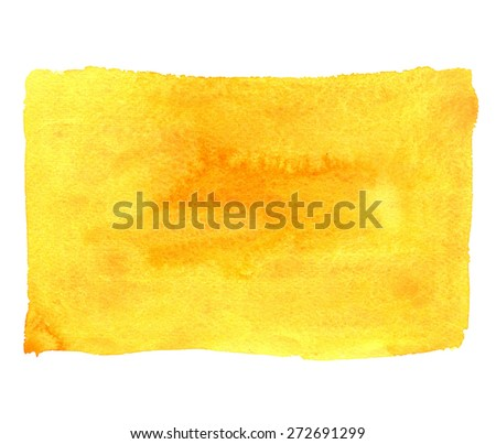 Watercolor orange paint stain closeup isolated on white background, frame, brush strokes, roller. Hand painting on paper