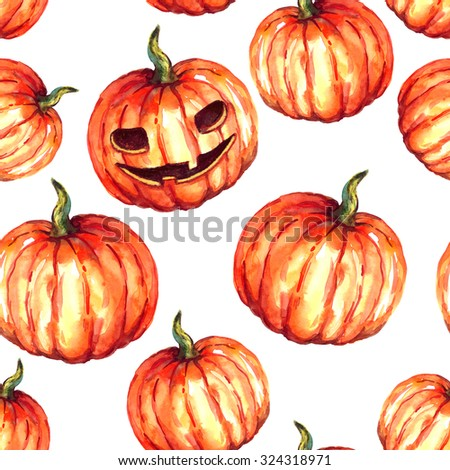 Watercolor orange pumpkin pattern on white background; Halloween pattern with pumpkins and symbol of Halloween - stock photo