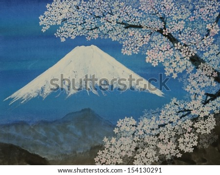 Watercolor original painting of Fuji. Sumie style - stock photo