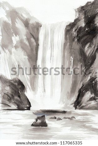 Watercolor original painting of landscape with rocks and waterfall.