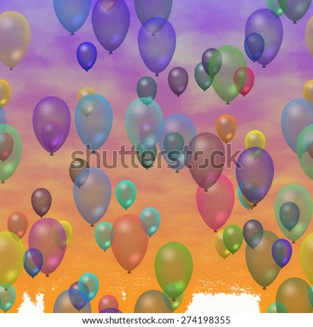 Watercolor paint . Colorful party balloons flying in the sky. - stock photo