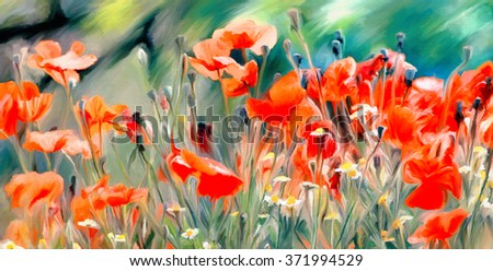 watercolor paint of spring field full with red poppies and wild flowers  - stock photo