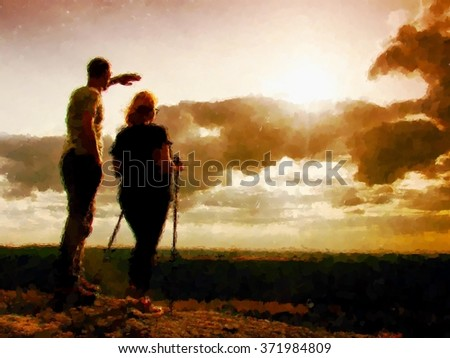 Watercolor paint. Paint effect.Couple enjoying marvelous moments during sunset . Young pair of hikers on the peak of rock empires park and watch over valley to Sun.   - stock photo