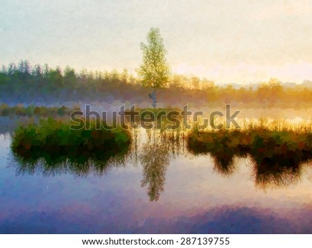 Watercolor paint. Paint effect..Early morning autumn lake in dreamy forest, young tree on island in middle. Colorful herbs and grass on islands, heavy clouds in sky.