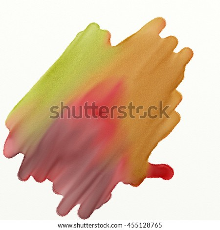 Watercolor paint pattern in red, green, yellow isolated on textured watercolor paper. - stock photo