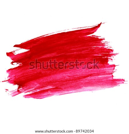 watercolor paint red strokes brush stroke color texture with space for your own text - stock photo