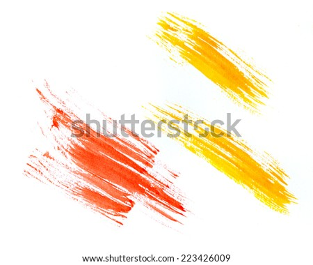 Watercolor paint strokes isolated on white background - stock photo