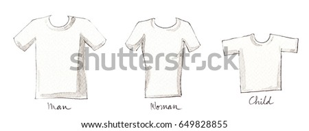 watercolor paint white t shirt template of man woman and children on white background