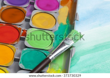 Watercolor paintbox - stock photo