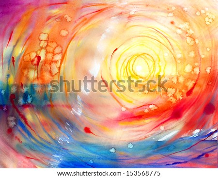 Watercolor painted abstract picture - stock photo