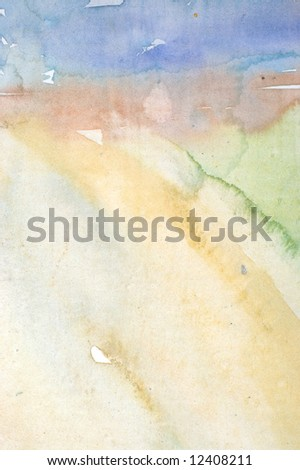 Watercolor painted background with blue and yellow layers - stock photo