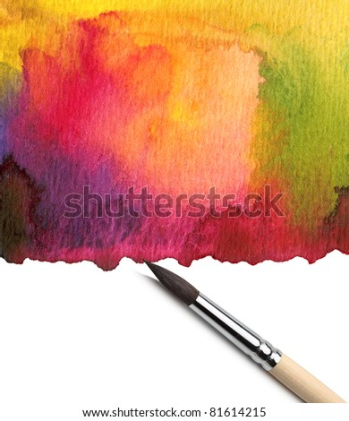 Watercolor painted background with brush - stock photo