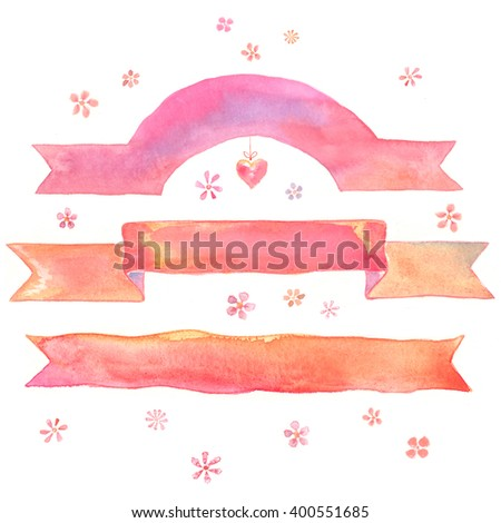 Watercolor painted banners with flowers for a cheerful greeting card: invitations, greetings, messages. Pink, warm coloring - stock photo