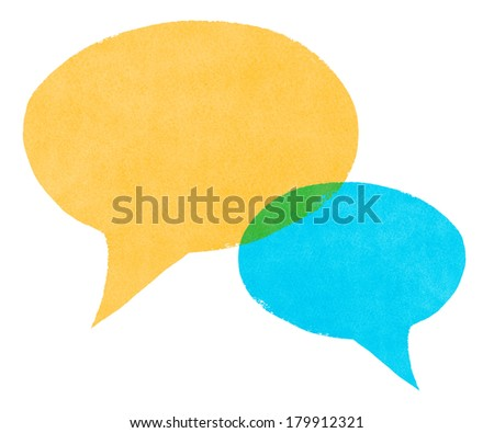 Watercolor Painted Blue and Yellow Speech Bubbles