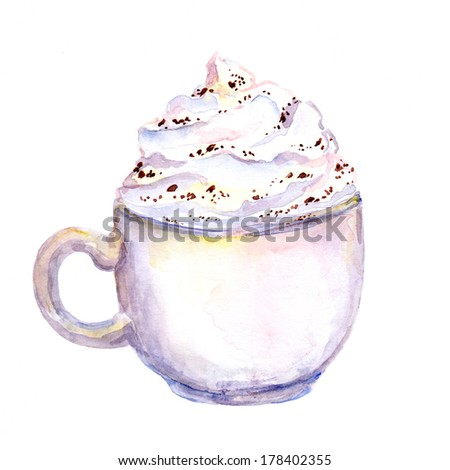 Watercolor painted cup of coffee with cream foam - stock photo