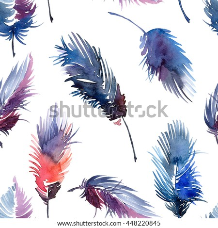 Watercolor painted feathers and beads set. Decorative seamless pattern.