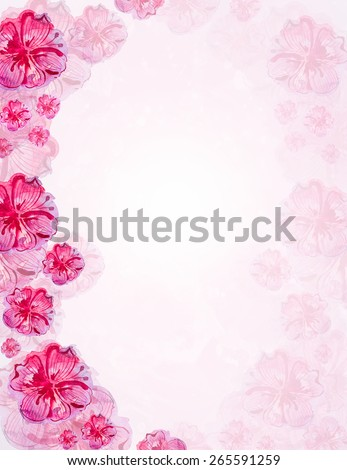 watercolor painted floral frame - stock photo