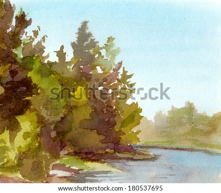 Watercolor painted landscape view with forest trees and lake water - stock photo