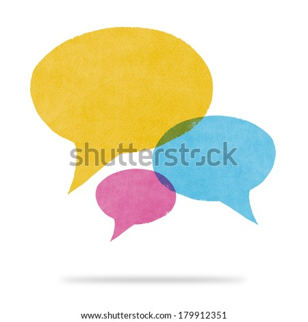 Watercolor Painted Yellow Blue and Pink Speech Bubble Conversation - stock photo