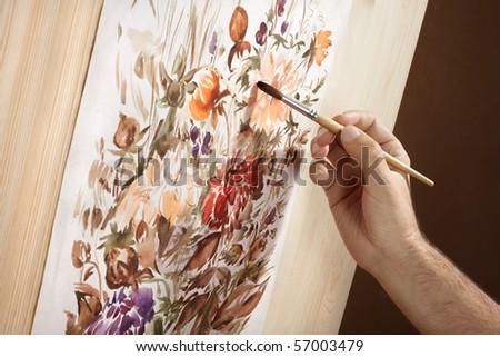 watercolor painter - stock photo