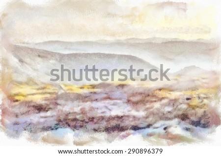 Watercolor painting. Amazing nature. Carpathian Mountains - stock photo