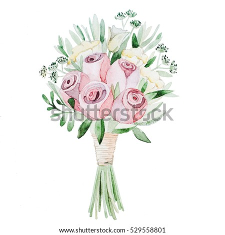 Watercolor Painting bouquet of flowers. wallpaper decoration art. Floral illustration isolated on white.