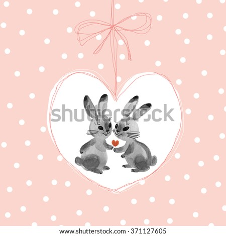 Watercolor painting bunnies in the background-6 . Beautiful background for your text. Congratulations to the St. Valentine's Day. Pink polka dot background. - stock photo