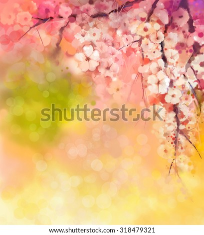 Watercolor Painting Cherry blossoms - Japanese cherry - Sakura floral in soft color over blurred nature background. Spring flower seasonal nature background with bokeh  - stock photo