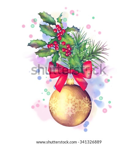Watercolor painting Christmas and New year decorations. Colorful holiday elements - stock photo