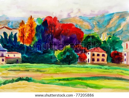 Watercolor Painting - Countryside - stock photo