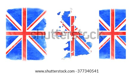 Watercolor painting - flag United Kingdom. Great Britain flag - watercolor abstract. Digital drawing