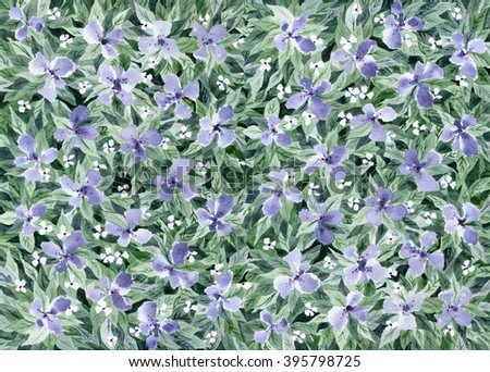 Watercolor painting. Floral background with lilac flowers and green leaves.
