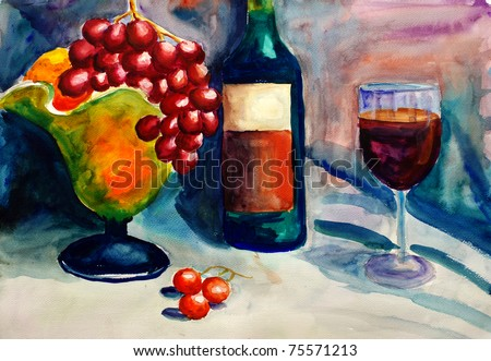 Watercolor Painting - Fruit and Wine - stock photo