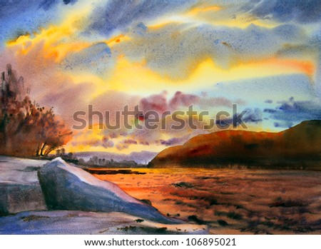 Watercolor painting landscape - stock photo