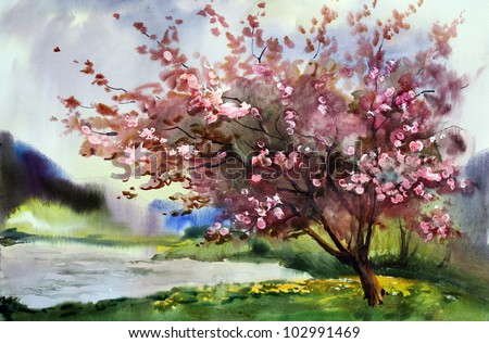 Watercolor painting landscape with blooming spring tree with flowers. - stock photo