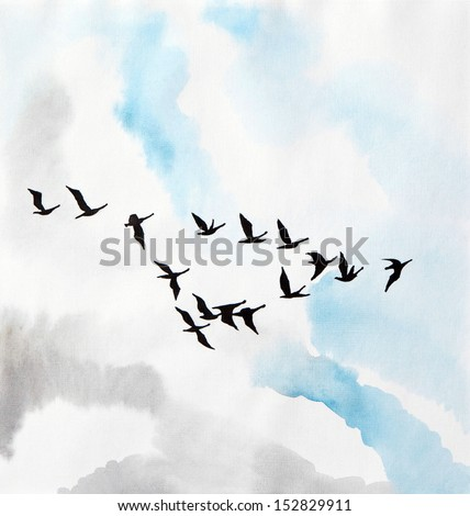 Watercolor painting of birds in the sky