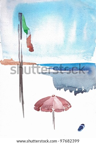 watercolor painting of italian shoreline with national flag, sun umbrella and one slipper - stock photo