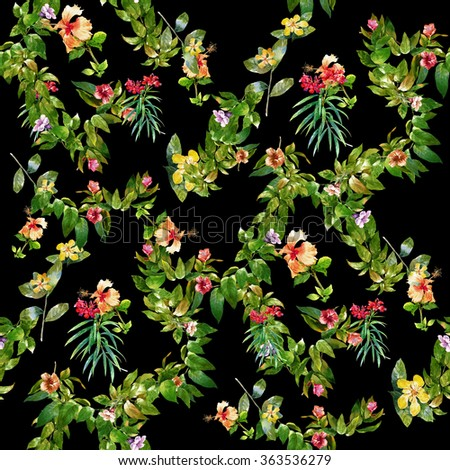 Watercolor painting of leaf and flowers, seamless pattern on dark background, - stock photo