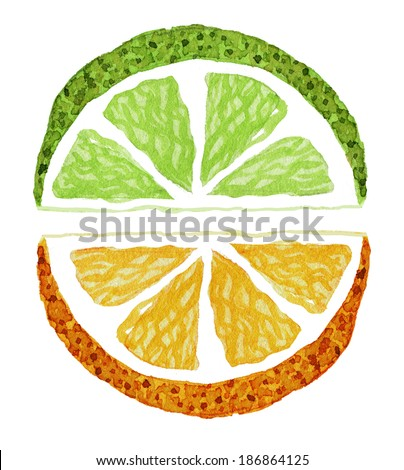 Watercolor painting of orange and lime slices. Hand drawn illustration. - stock photo