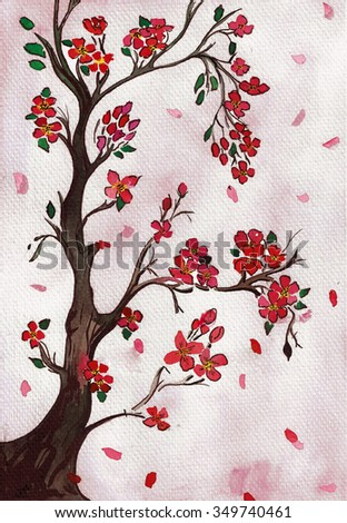 Watercolor painting of red  blossoms on tree branch - stock photo
