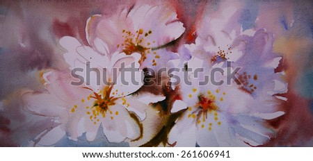 Watercolor painting of the beautiful flowers - stock photo