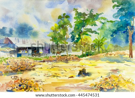 Watercolor painting original landscape shops rural people in sky and cloud background