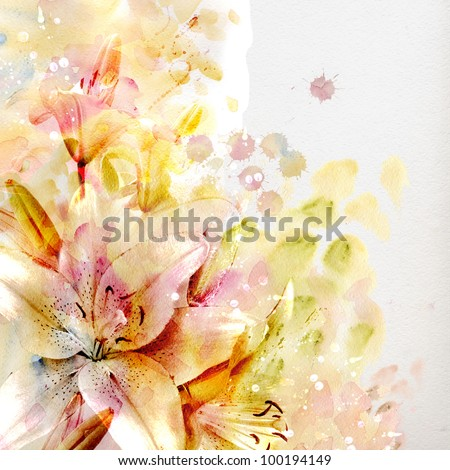 Watercolor painting. pastel lilies - stock photo