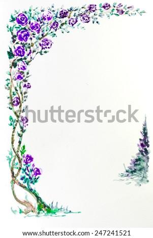 watercolor painting purple rose flower frame , valentine,  rose margin, rose arbour ,rose door facade, rose arched entrance , decorated flower, vine, Decoration flower, flower frame - stock photo