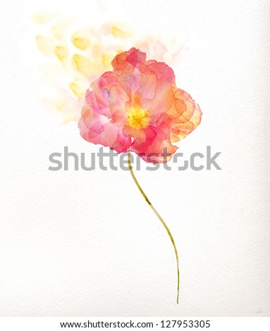 Watercolor painting, red flower - stock photo