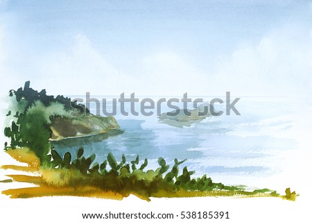 watercolor painting showing a coastal landscape in Tuscany at summer time