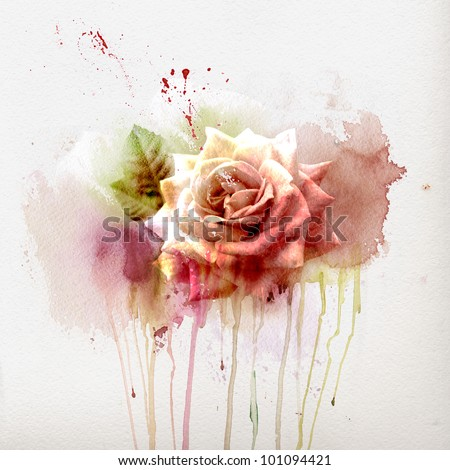 Watercolor painting, sketch with Rose - stock photo