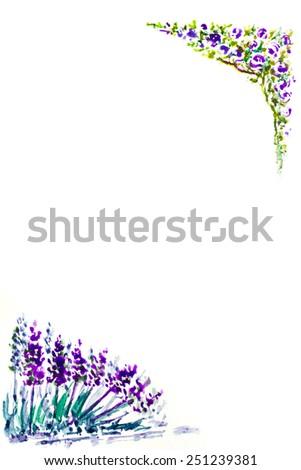 watercolor painting violet rose and lavender flower frame, valentine , decorated flower, vine, Decoration flower rose margin, rose arbour ,rose door facade, rose arched entrance - stock photo