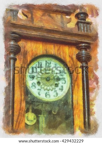 Watercolor painting with antique clocks, 19th century. - stock photo