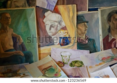 Watercolor paintings and oil paintings. Art educational works. - stock photo